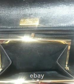 Givenchy Black Leather Gold Chain Bag w Built-in Kisslock Coin Pouch & Dust Bag