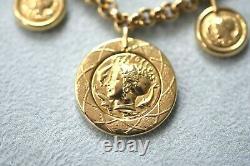Gorgeous! Vintage 14K Gold ITALY 20 Gram Roman Coin Charm Lobster Clasp Bracelet