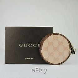 Gucci Pink Guccissima Coated Canvas Round Coin Purse withGold Bow Charm 181882