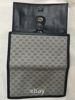 Gucci Wallet Navy Canvas And Leather Gold GG Clip Side Card slots Vintage