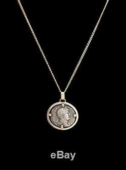 HADRIAN Ancient Roman Silver Coin Necklace 14K Gold Italy Circa 1980's