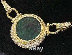 Heavy vintage 18K gold Italy beautiful. 49CT diamond Roman coin pendant necklace