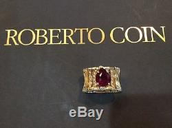 Huge Ruby Roberto Coin 18K Gold Diamond AND RUBY RING SALE FOR CHRISTMAS