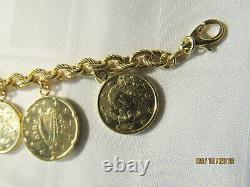 ITALIAN 18k GOLD OVER STERLING 8 LIRA COINS BRACELET 50 GMS 8 LENGTH GORGEOUS