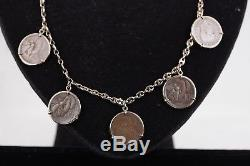 ITALIAN Gold Plated Sterling Silver ANCIENT Lira COIN CHARMS NECKLACE Honey Bee