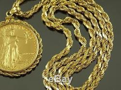 Italian Signed Sarraf 14k Gold Necklace & 1986 American Eagle 1oz $50 Gold Coin