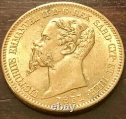 ITALIAN gold coin VITTORIO EMANUELE 20 LIRE 1851 P ITALY KINGDOM OF SARDINIA UNC