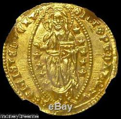 Italy 1382-1400 Gold Jesus Christ Coin Ngc 64 Ms Ducat 600+ Years Old