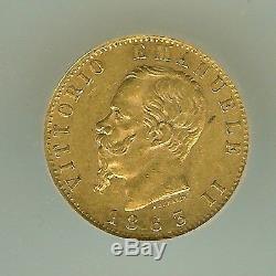 Italy 1863-tbn Gold 20 Lire Icg Au50 Km#10.1