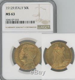 ITALY 1912 gold 50 Lire Vittorio Emanuele NGC MS63