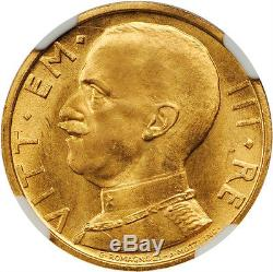 Italy 1931-r Yr. X 50 Lire Uncirculated Gold Coin, Ngc Certified Ngc Ms63