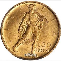 Italy 1933-r Yr. XI 50 Lire Uncirculated Gold Coin, Pcgs Certified Ms62