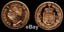 Italy Gem Bu Lustrous Old 1882, 20 Lire Gold, Depicts King Umberto I