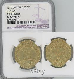 ITALY Genoa 1619 gold 2 Doppie Castle and Cross NGC AU