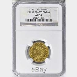 Italy Papal States 1786 30 Paoli Gold Coin Almst Uncirculated Certified Ngc Au58