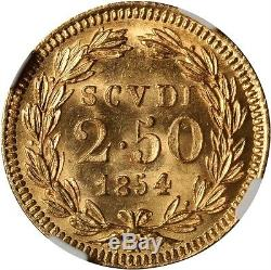 Italy Papal States 1854 2 1/2 Scudi Gold Coin Uncirculated Certified Ngc Ms 65
