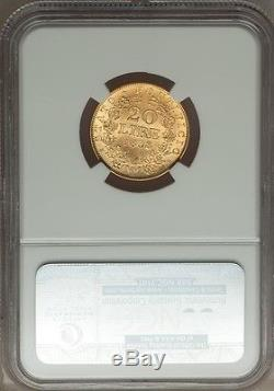Italy Papal States 1868 20 Lire Gold Coin Choice Uncirculated Certified Ngc Ms63