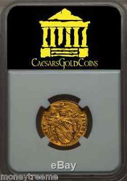 Italy Papal States Madonna Clement XII Gold Zecchino Coin 1739 Ngc Ms 62 Rome