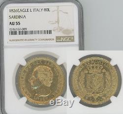 ITALY Sardinia 1826-L gold 80 Lire NGC AU55