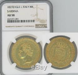ITALY Sardinia 1827-L. 74 oz gold 80 Lire Carlo Felice NGC AU58