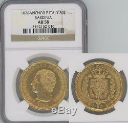 ITALY Sardinia 1828-P gold 80 Lire NGC AU58