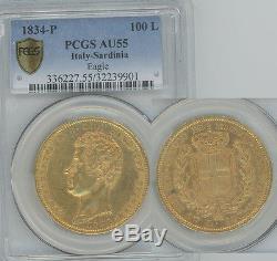 ITALY Sardinia 1834-P. 93 oz gold 100 Lire Carlo Alberto PCGS AU55