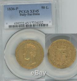 ITALY Sardinia 1836 gold 50 Lire PCGS XF45 Only 385 struck