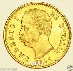Italy, Umberto I, 20 Lira, 1881 Gold Coin, Prooflike Bu