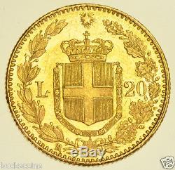 Italy, Umberto I, 20 Lira, 1882 Gold Coin, Prooflike Bu