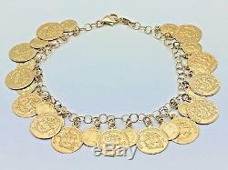 Italian 14K Yellow Gold 7.5 Roman Coin Charm Bracelet 7.8 grams
