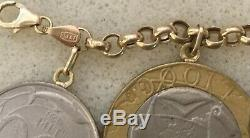 Italian 14k yellow gold lire coin rolo charm bracelet 7