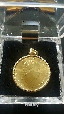 Italian 200 Lire Coin Pendant 14K Yellow Gold Bezel And Bail