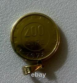 Italian 200 Lire Coin in 14k Solid Yellow Gold Bezel Pendant for Necklace