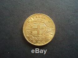 Italian GOLD 20 Lire (lira) Vittorio Emanuele II 1873 (gold coin)