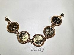 Italian Lira Coin Bracelet Vermeil 18K Yellow Gold over Sterling Silver 7 EUC