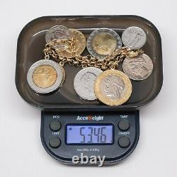 Italian Milor 14k Yellow Gold Rolo Link Lire Coin Charm Bracelet, 7 ¼