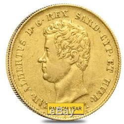 Italian States Sardinia Gold 20 Lire Charles Albert AGW 0.1866 oz Avg Circ