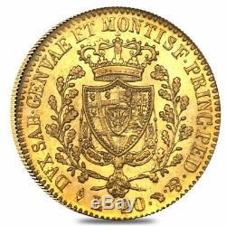Italian States Sardinia Gold 20 Lire Charles Felix Avg Circ Random Year