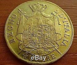 Italien States GOLD 40 Lire 1808 M Napoleon I Bonaparte 1804-1814 Very Rare Coin