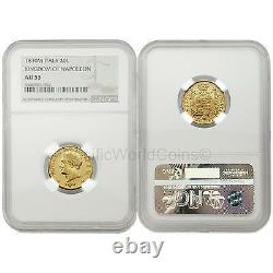 Italy 1810M Kingdom of Napoleon 20 Lire Gold NGC AU53