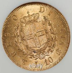 Italy 1863 T BN 10 LIRE Gold Coin NGC MS62 UNC/BU Vittorio Emanuele II KM# 9.3