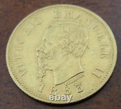 Italy 1863 T BN Gold 10 Lire AU Vittorio Emanuele II