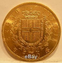 Italy 1865 T BN Gold 20 Lire Vittorio Emanuele II UNC