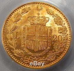 Italy, 1882 R Gold 20 Lire PCGS Graded MS64
