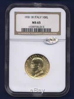 Italy 1931-r Yr. IX 100 Lire Gem Uncirculated Gold Coin, Ngc Certified Ngc Ms65