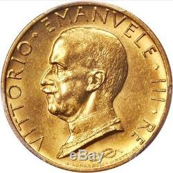 Italy 1931-r Yr. IX 100 Lire Uncirculated Gold Coin, Pcgs Certified Ms62