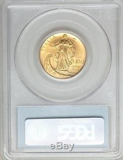 Italy 1932-r Yr. X 100 Lire Uncirculated Gold Coin, Pcgs Certified Ms62