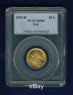 Italy 1932-r Yr. X 50 Lire Uncirculated Gold Coin, Pcgs Certified Ms64