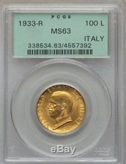 Italy 1933-r 100 Lire Gold Coin, Choice Uncirculated, Pcgs Certified Ms63