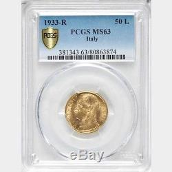 Italy 1933-r Yr. XI 50 Lire Uncirculated Gold Coin, Pcgs Certified Ms63
